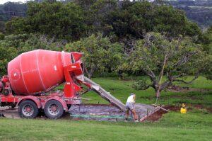 Houston concrete supplier pouring concrete on prepped soil